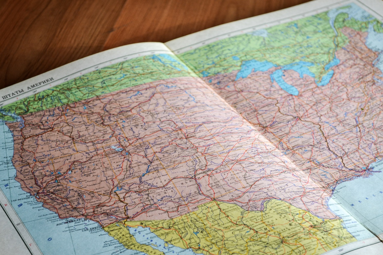 map of united states in a book